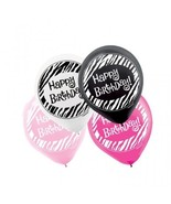 Another Year of Fabulous Pink Black Birthday Party Decoration Latex Ball... - $13.17