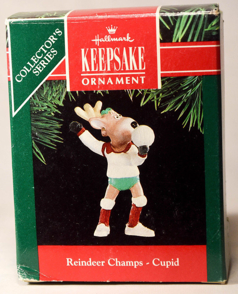 Primary image for Hallmark Reindeer Champs  Cupid  Volly Ball Series 6th 1991 Holiday Ornament
