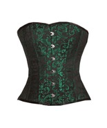 Green Black Brocade Gothic Burlesque Party Costume  Bustier Overbust Cor... - $59.99
