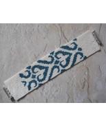 Cuff Bracelet, Teal & White Peyote Stitch, Stylized Heart Motif, Tube Clasp - $49.00