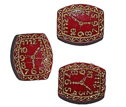 Red Clock Czech Pressed Glass Beads 20mm Pack of 3 - $6.47