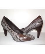 B. Makowsky Leather Pumps Heels sz 10 M Snake Embossed Gray Brown - $29.00