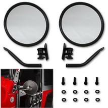 Round Rear Side View Black Glass Mirror w/ Mount Arm PR For 97-17 Jeep Wrangler - $29.95