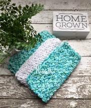 Handmade Kitchen Dish Cloths Aqua Blue Turquoise White Cotton Crochet Se... - $18.75