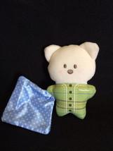 Fisher Price White Teddy Bear Security Blanket Rattle Blue Dot Green Str... - $8.59