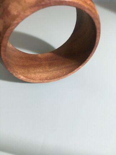 "Vtg Wood Wide Bangle Bracelet 1 1/2"" Wide By 3 1/2"" Across"