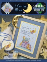 I See The Moon Baby Nursery Bib Sippie Cup Cross Stitch Pattern NEW - $2.67