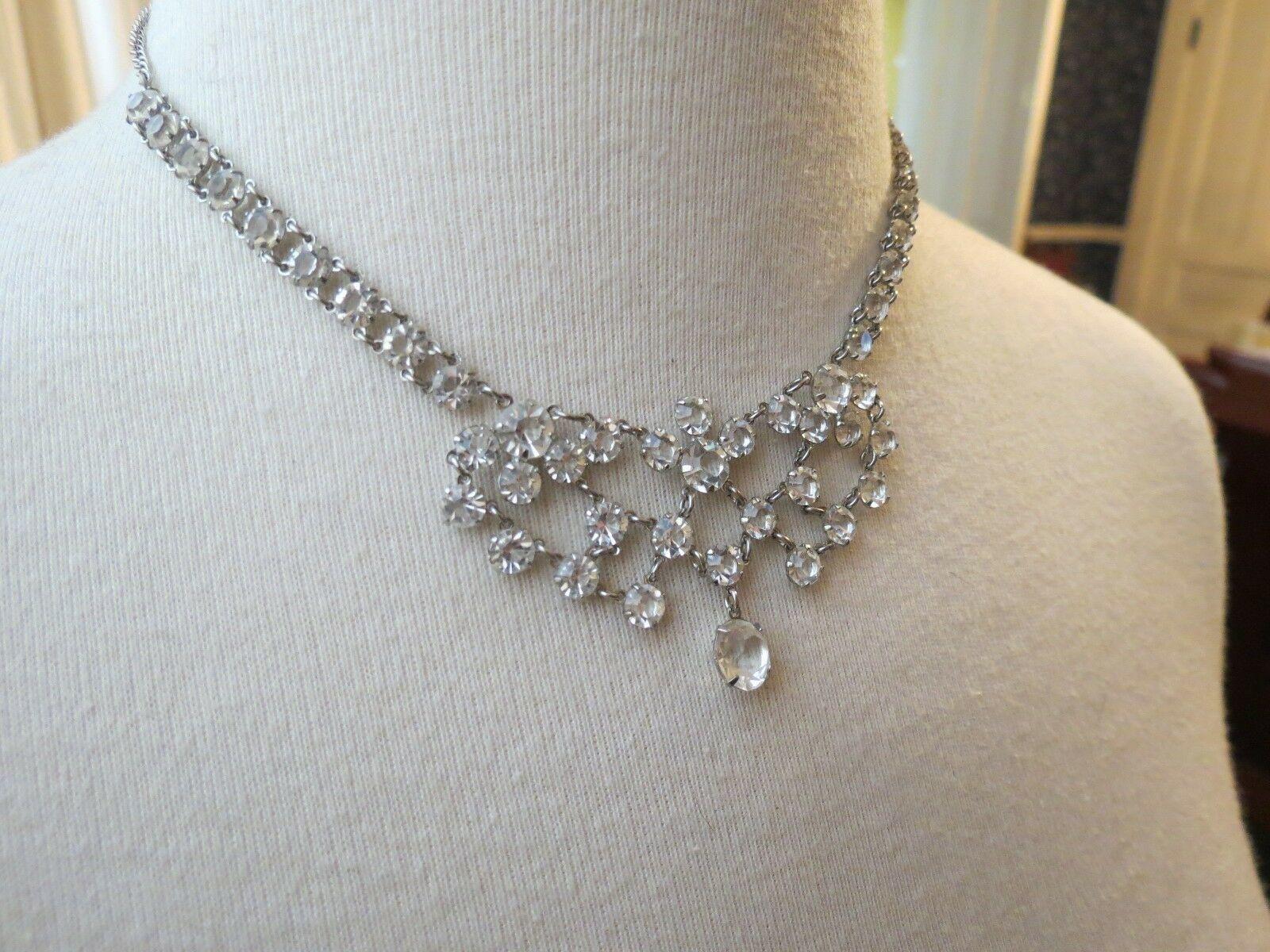 VTG Bezel Set Clear Crystal Necklace Choker Mini Bib Silver Plated Dangle Fringe