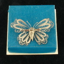 VINTAGE DECO Pure SILVER FILIGREE WIRE WORK  BUTTERFLY PIN  Original Pre... - $38.69