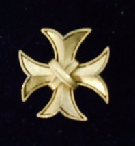 "Trifari Gold Tone Maltese Cross Brooch Pin 2 1/4"" Crown Stamped 1955-1969 - $18.06"