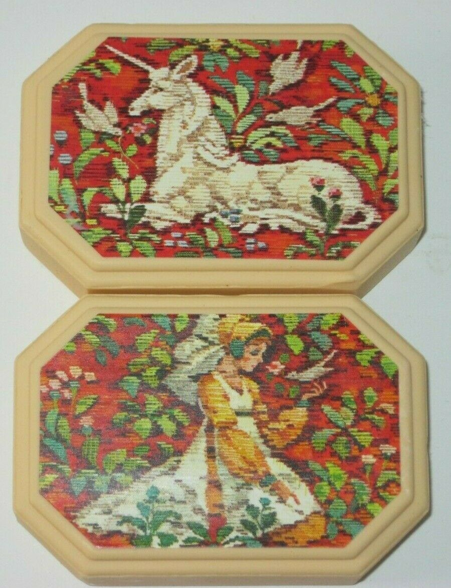 2 Avon Hostess Soap Tapestry UNICORN Unused Vintage 80s NIB