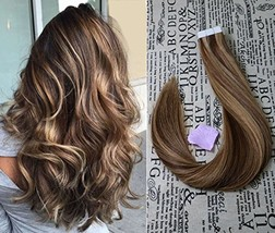 """20"""" Tape in Extensions Remy Human Hair Extensions Brazilian Remy Hair Glue in Re image 1"""