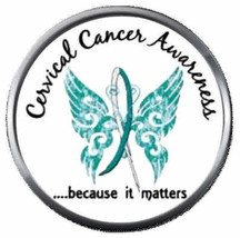 Cervical Cancer Awareness Matters Teal White Ribbon Fight 18MM-20MM Snap... - $5.95