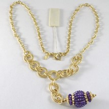 SILVER 925 NECKLACE YELLOW GOLD PLATED WITH HANGING CHARM MILLED AND AMETHYST image 1