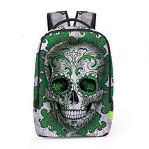 Creative personality 3d skull digital print school travel backpack - $26.00