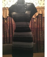 Cowl Neck Button Belted Tunic Sweater Dress size 11-13 Black and Gray - $12.00