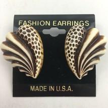 Vintage Chunky Plastic Pierced Earrings Brown Swirl Big Statement NOS - $9.84
