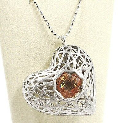 Necklace Silver 925, Heart Convex, Satin, Perforated Pendant, Chain Balls