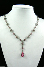 "Multi Pink CZ Cubic Zirconia silver tone Necklace 17.5""L with drop - $30.89"