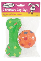 Squeaky Dog Toys - Bone and Ball - 2 Pack - $8.83