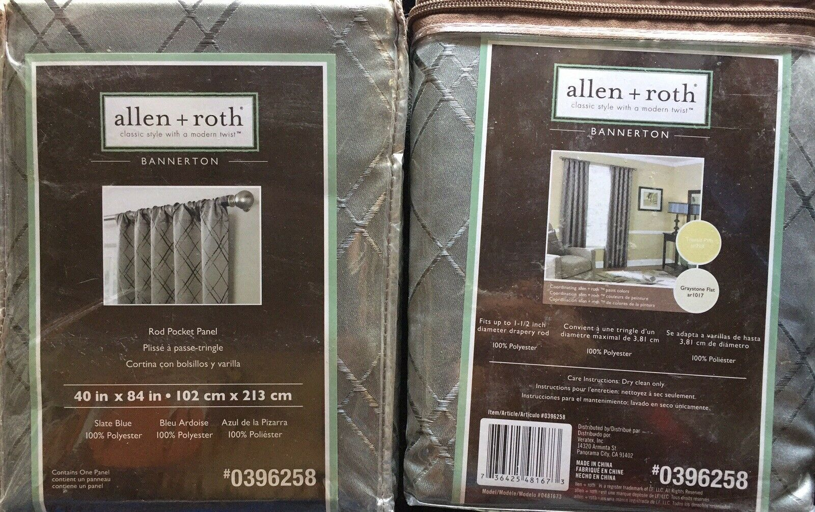 Primary image for (2-PACK) Allen + Roth Bannerton Rod Pocket Panel Curtain Slate Blue Green 40x84