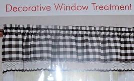 "New Black Buffalo Check Valance Curtain 58"" X 14"" White Crochet Edging Farmhouse - $19.95"