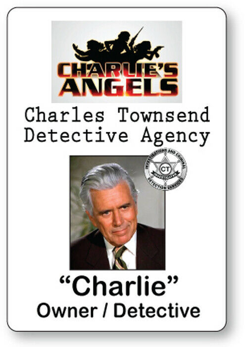 CHARLES TOWNSEND CHARLIE'S ANGELS NAME BADGE TAG HALLOWEEN COSPLAY PIN BACK