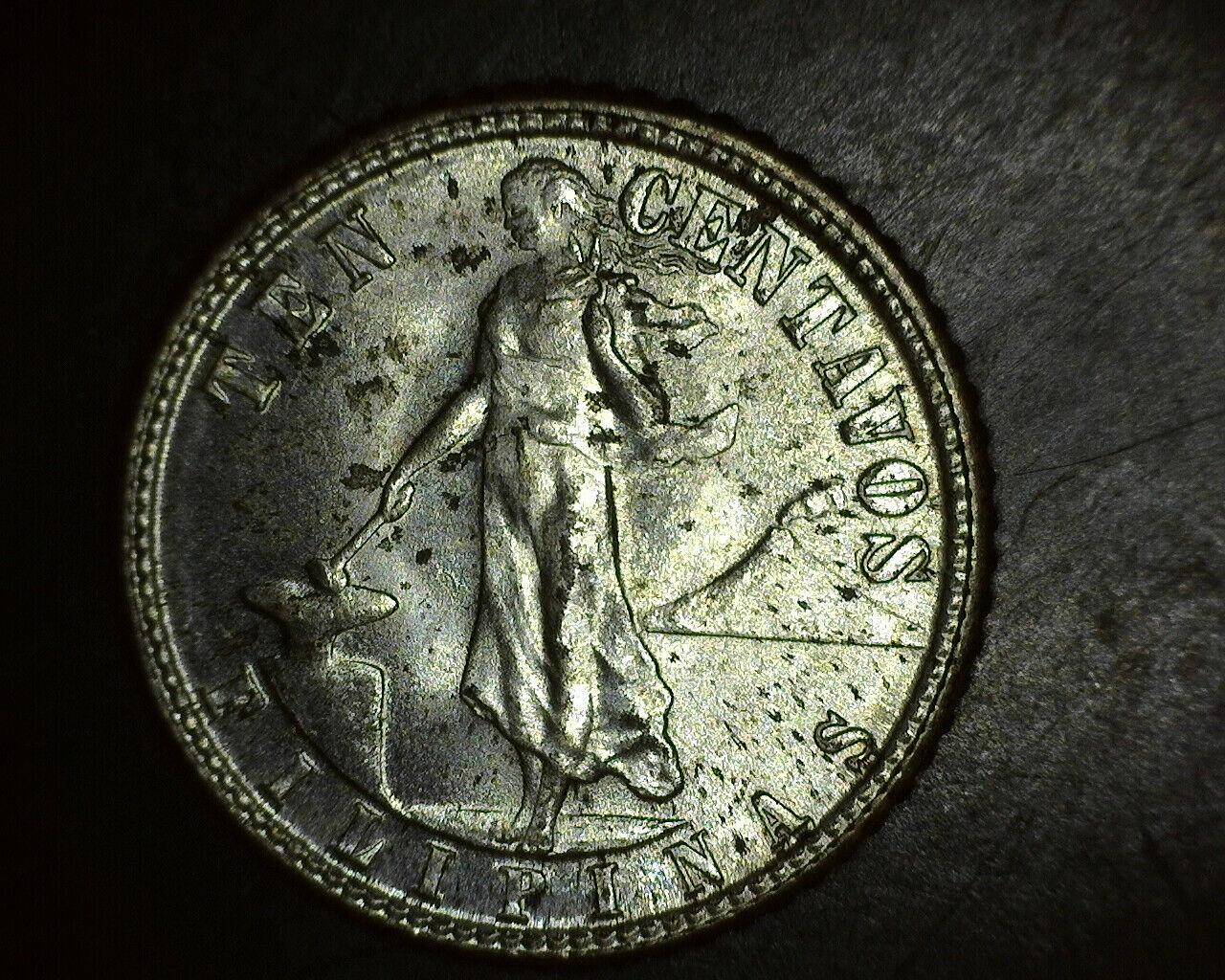 1944 D Philippines 10 Centavos Silver UNC