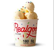 Real Good Foods, Super Premium Ice Cream, Cake Batter, Pint 4 Count