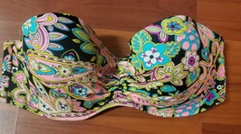 VICTORIA SECRET 36C BIKINI BATHING SUIT SWIM TOP PAISLEY FLORAL BLACK PI... - $25.00