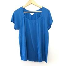 Vince Pima Cotton Blend Short Sleeve Scoop Neck T Shirt Blue Size L Large  - $15.34