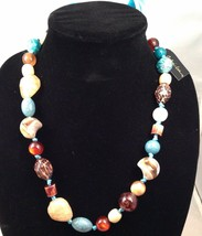 New Cookie Lee Adjustable Ribbon Necklace w/Various Polished Stones - $10.73