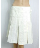 French Connection Pleated Tennis A-line Skirt SZ 4 Ivory Sporty Cotton S... - $0.99