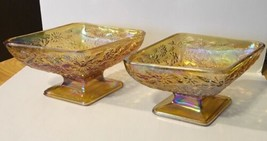 Indiana Glass Marigold Carnival Pedestal Diamond Candy Dishes - $14.01