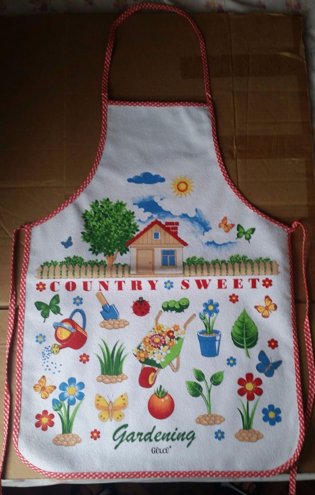 "Primary image for new Printed Kitchen Apron, 19"" x 27"", cotton w/ vinyl back, COUNTRY SWEET GARDEN"