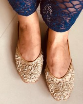 Rose Gold Beaded Bridal Shoes, Copper Women Wedding Shoes, Indian Ethni... - $61.99