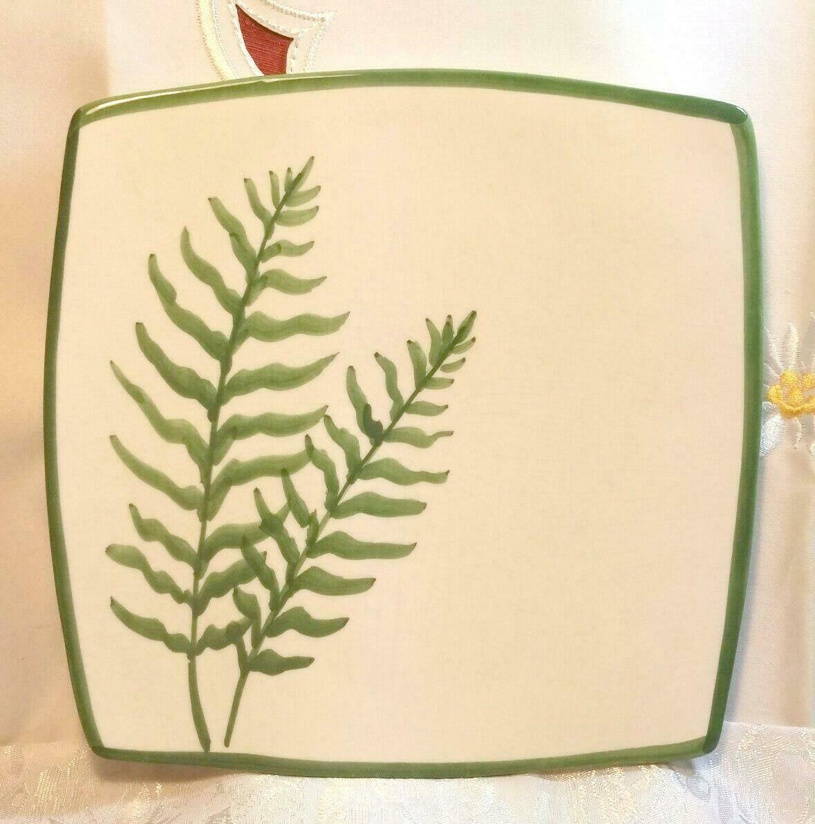 VINTAGE FERN PATTERN SQUARE SERVING PLATE MANCER MADE IN ITALY HAND PAINTED