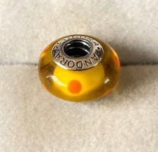 Pandora yellow with orange spot Murano polka dot Bead Charm 790623  - $24.50