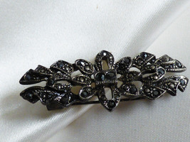 VTG Art Deco style Sterling Silver 925 Marcasite Pin Brooch bar - $33.26