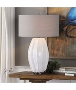 "URBAN MODERN 29"" GLOSS WHITE CERAMIC TABLE LAMP BRUSHED NICKEL DETAIL  - $316.80"