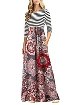 OURS Women's Casual Striped Dresses Long Maxi Dresses with Pockets A-Pat... - $29.82