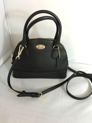 1eff3d1795 12. 12. NWT Coach Women Crossgrain Mini Cora Domed Satchel Handbag in Black  F34090. NWT Coach Women Crossgrain ...