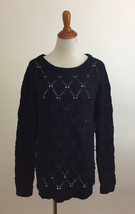 Tommy Hilfiger Navy Blue Cable Knit Eyelet Sweater sz Large - $19.78