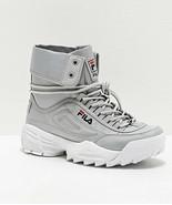 Womens FILA Disruptor Ballistic Grey White Sneaker Boots Tall NEW - $105.38