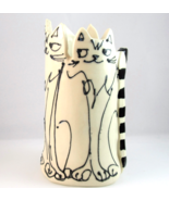 Funky retro style studio art pottery cat vase hand crafted  - $22.89