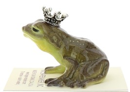 Hagen-Renaker Miniature Ceramic Frog Figurine Brown Frog Prince Kissing image 3