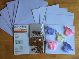 Card kit Baby Girl Craft DIY Cards envelopes jumper bows Princess charm - $4.93