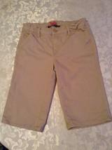 Girls Size 12R Justice shorts long uniform khaki flat front - $12.29