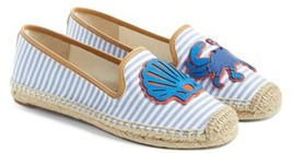 Tory Burch Crab Striped Espadrille Flat Chicory Slip On Loafer Shoes Bal... - $126.00
