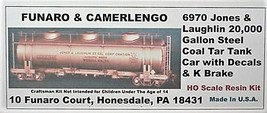 Funaro & Camerlengo HO kit  6970 Jones & Laughlin 20K Gal Coal Tar Tank Car silv image 1